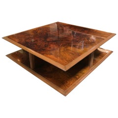 Rare Vintage Gucci Square Coffee Table Signed, Italy, 1980s