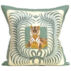 Rare Vintage Hermès French Silk Scarf and Irish Linen Cushions Pillows Green