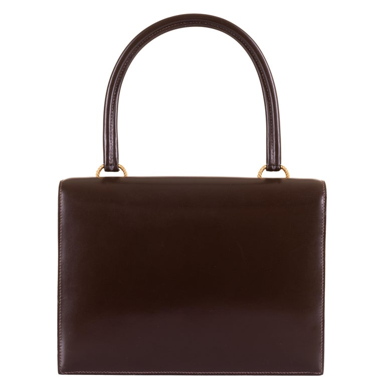 Black Rare Vintage Hermes 'Sac Cordeliere' in Dark Brown Box Leather & Gold Hardware  For Sale