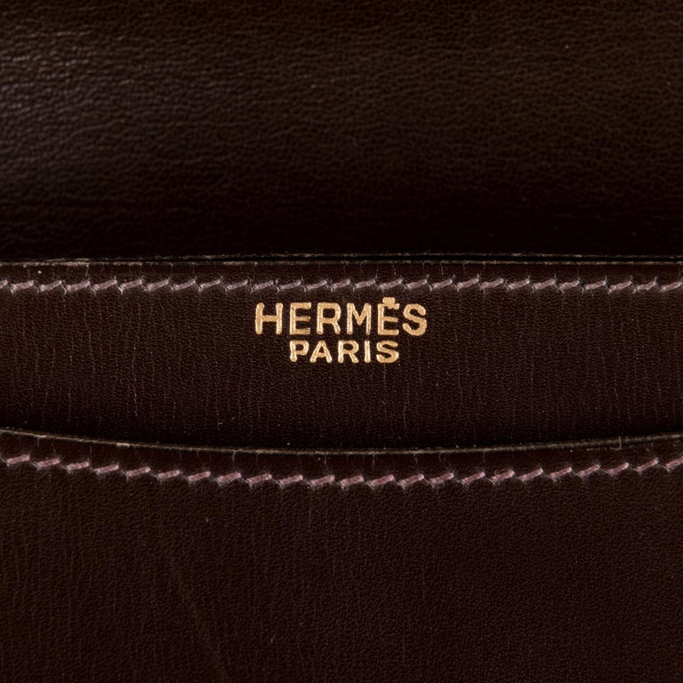 Women's Rare Vintage Hermes 'Sac Cordeliere' in Dark Brown Box Leather & Gold Hardware  For Sale