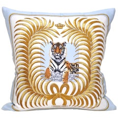 Rare Vintage Hermès Tiger Silk Scarf and Irish Linen Cushion Pillow Blue Gold
