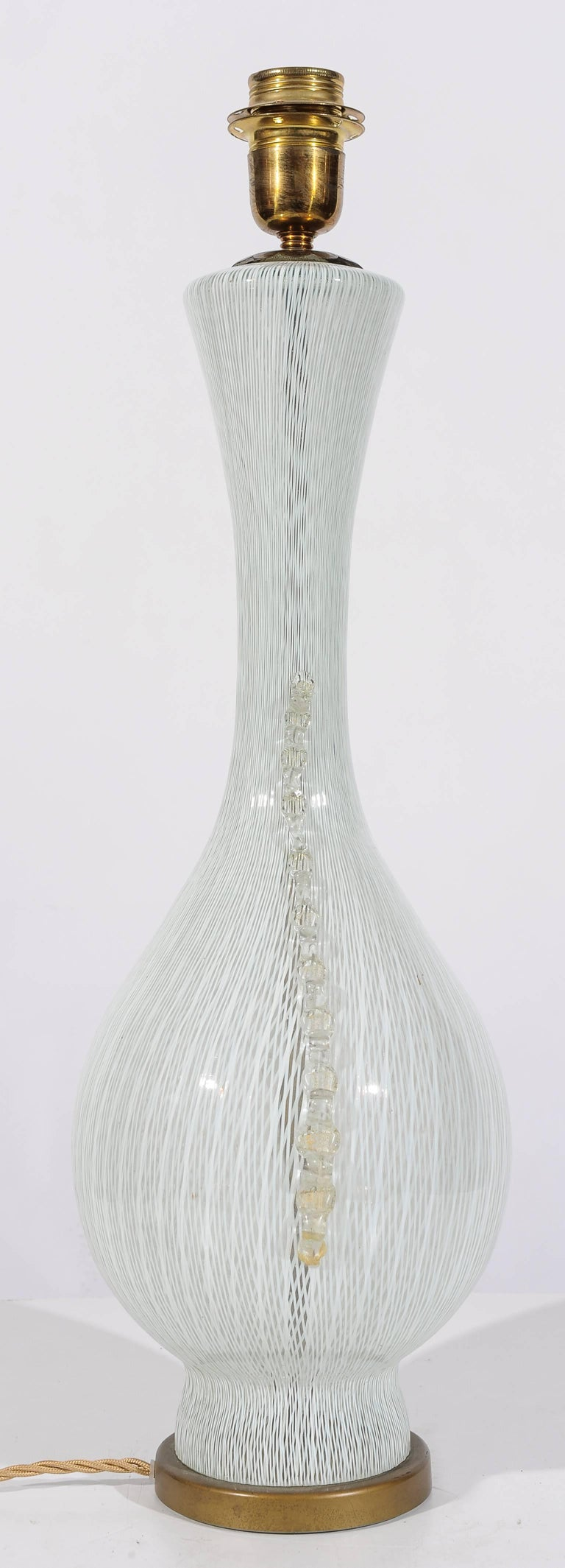 Hand-Crafted Rare Elegant Vintage Italian Glass Table Lamp by Balsamo Stella For Sale