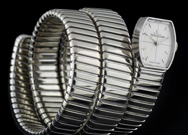 Rare Vintage Jaeger-LeCoultre & Bulgari Tubogas Manual Wind Snake Bracelet Watch In Good Condition For Sale In London, GB