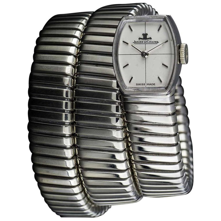 Rare Vintage Jaeger-LeCoultre & Bulgari Tubogas Manual Wind Snake Bracelet Watch For Sale