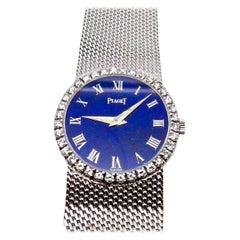Vintage Lapis Roman Numeral Dial 18 Karat Gold Diamond Bracelet Watch