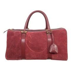 Rare Vintage Les Must De Cartier Suede Leather Boston Travel Handbag