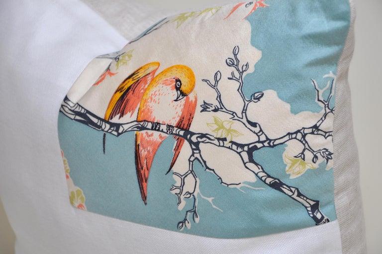 Japonisme Rare Vintage Liberty of London English Silk Pillow Irish Linen Birds Cushion For Sale