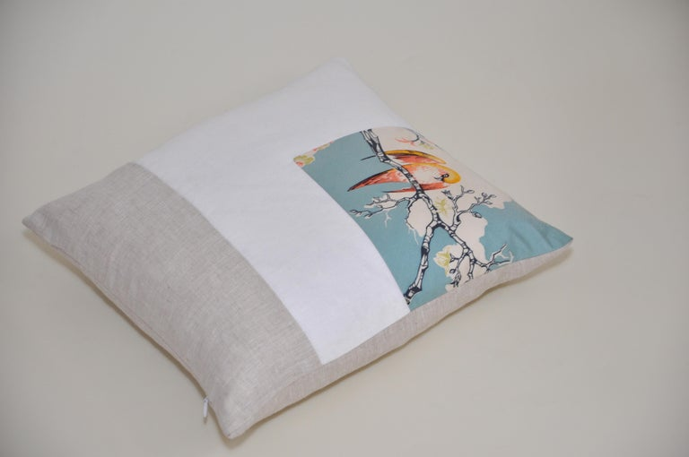 20th Century Rare Vintage Liberty of London English Silk Pillow Irish Linen Birds Cushion For Sale