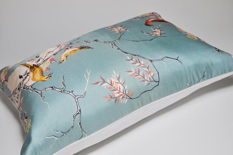 Rare Vintage Liberty of London English Silk Pillow Irish Linen Birds Cushion For Sale 1