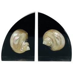 Rare Vintage Mid Century Lucite Bookends with Embedded Sea Shells