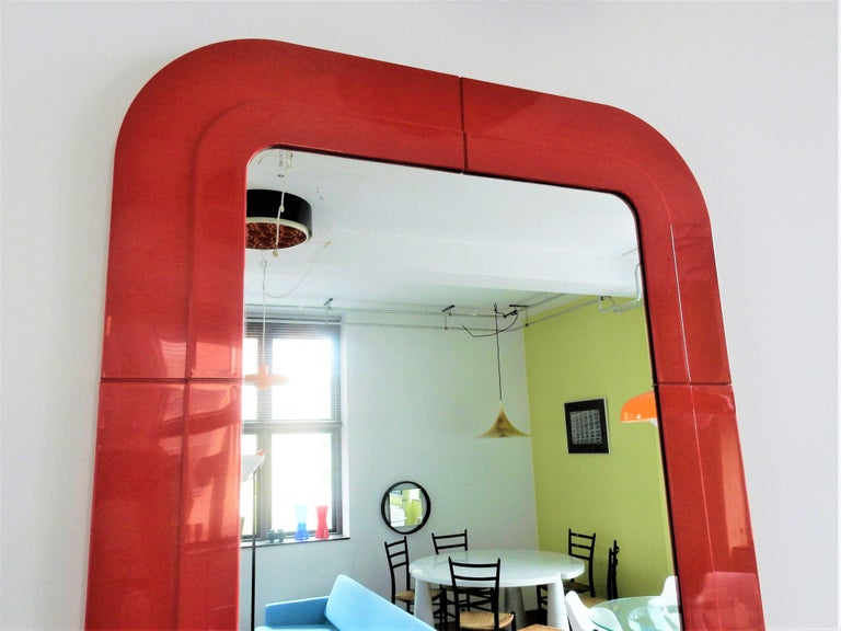 Mid-Century Modern Rare Vintage Mirror with Red Plastic Frame by Anna Castelli for Kartell, 1960s