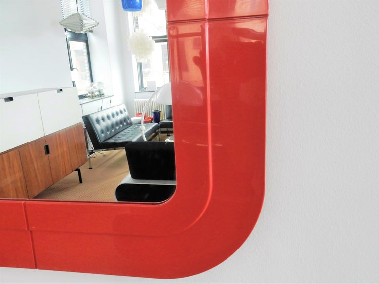 Italian Rare Vintage Mirror with Red Plastic Frame by Anna Castelli for Kartell, 1960s