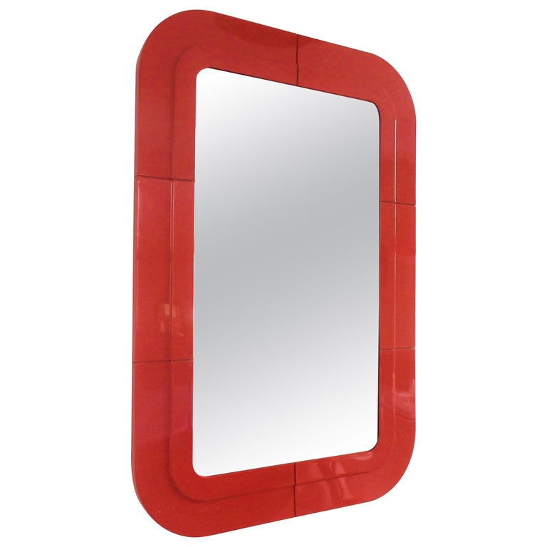 Rare Vintage Mirror with Red Plastic Frame by Anna Castelli for Kartell, 1960s