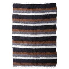 Rare Vintage Mohair Blanket Kilim Rug Turkey Beige Brown Grey Black