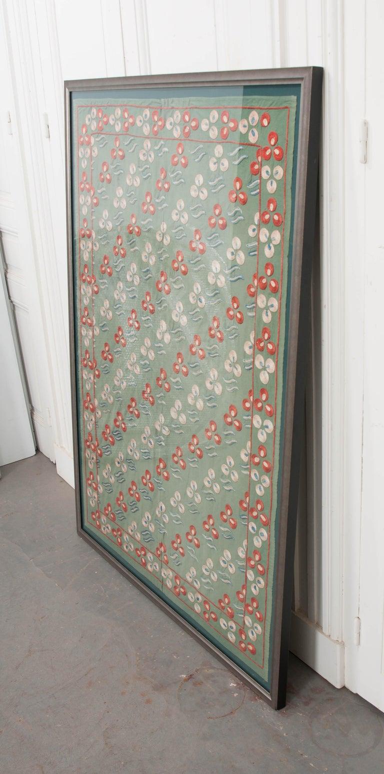 "Uzbek Rare Vintage ""Nim Suzani"" Embroidered Textile Panel For Sale"