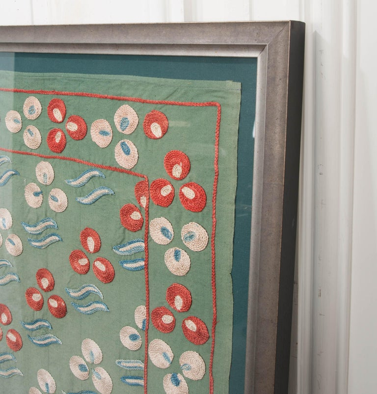 """Dyed Rare Vintage """"Nim Suzani"""" Embroidered Textile Panel For Sale"""
