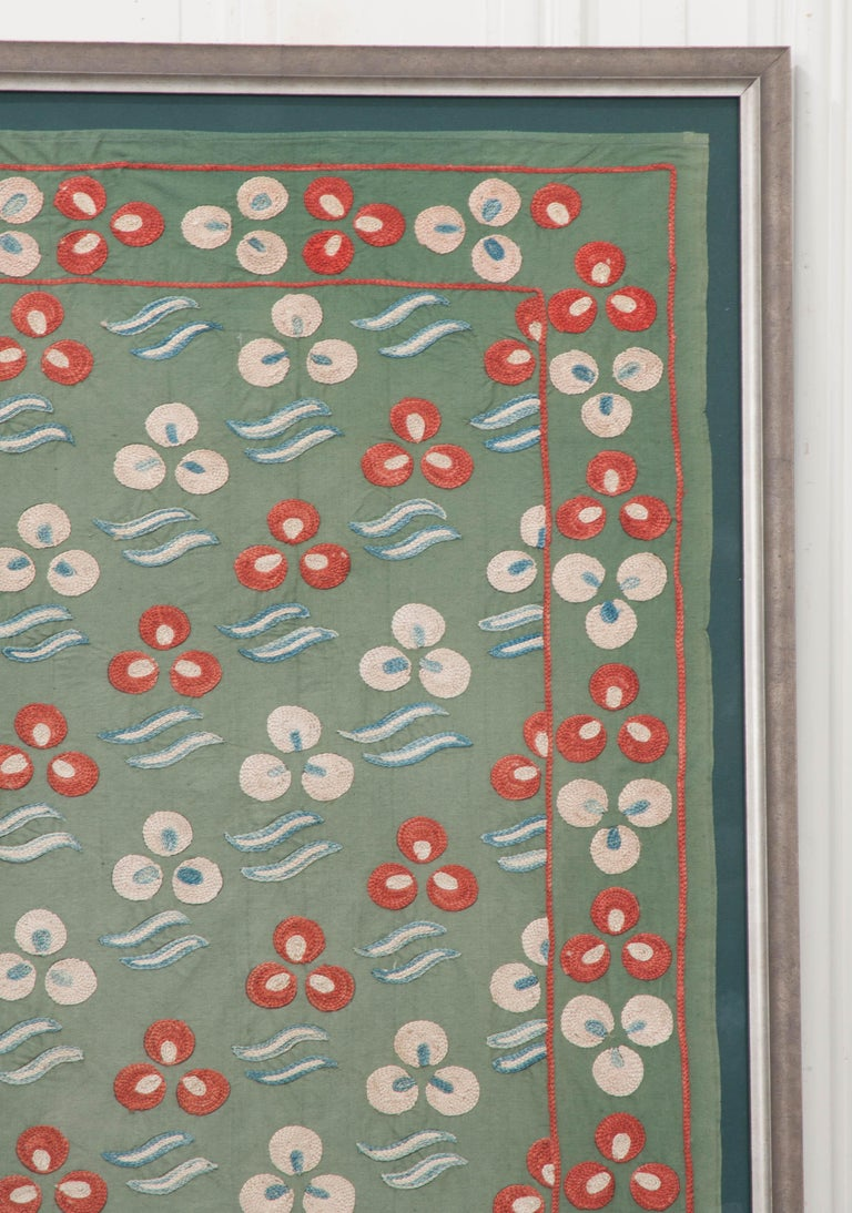"Silk Rare Vintage ""Nim Suzani"" Embroidered Textile Panel For Sale"