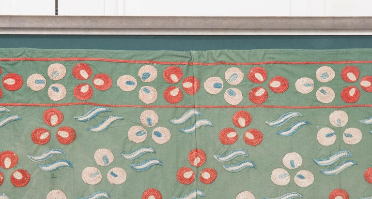 "Rare Vintage ""Nim Suzani"" Embroidered Textile Panel For Sale 1"