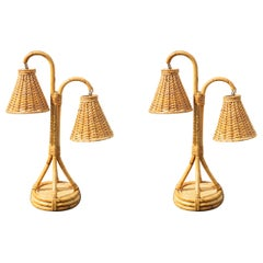 Rare Vintage Pair of Bamboo and Rattan Table Lamp