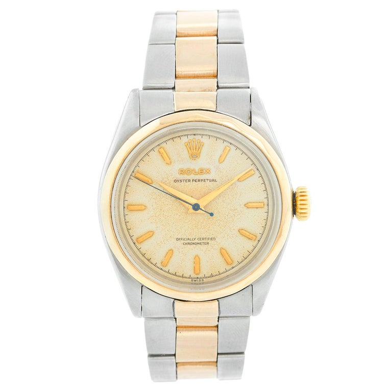 Rare Vintage Rolex Oyster Perpetual Two-Tone Men's Watch Ref 6286 For Sale