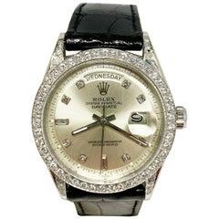 Rare Vintage Rolex President Day Date Platinum 1804 Diamond Dial Bezel Lugs 1964