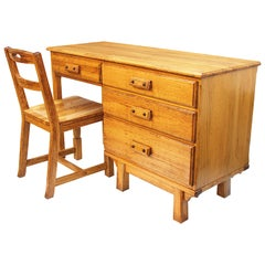 Rare Vintage Rustic Western Oak Desk & Chair Set from Yellowstone National Park