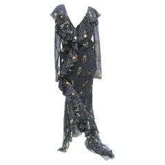 Rare Vintage S/S 2001 John Galliano for Christian Dior Silk Polka Dot print gown