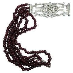 Rare Vintage Signed Coro 6 Rows Genuine Garnets & Crystal Bracelet