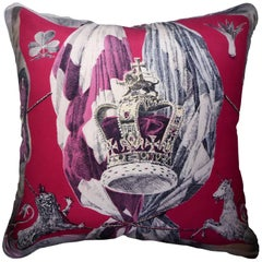 Vintage Cushions 2nd June 1953 Bespoke Luxury Silk Pillow Made in London