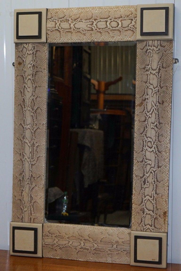 Rare Vintage Snakeskin Mirror Upholstered On Solid Wood