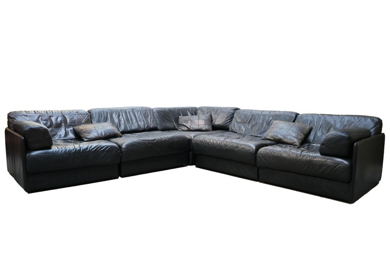 Rare Vintage Swiss De Sede Model DS-76 Black Leather Modular Sofa Daybed DS76 For Sale 5