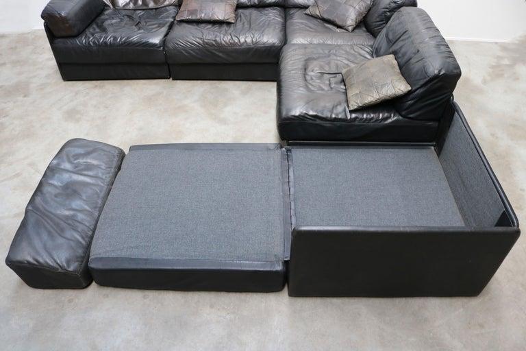 Rare Vintage Swiss De Sede Model DS-76 Black Leather Modular Sofa Daybed DS76 For Sale 6