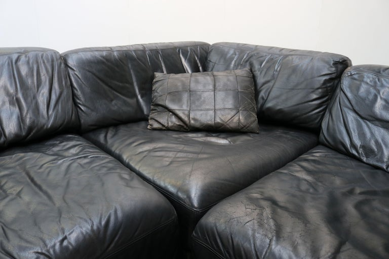 Rare Vintage Swiss De Sede Model DS-76 Black Leather Modular Sofa Daybed DS76 In Good Condition For Sale In Ijzendijke, NL