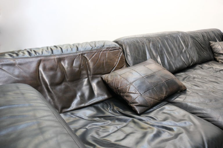Late 20th Century Rare Vintage Swiss De Sede Model DS-76 Black Leather Modular Sofa Daybed DS76 For Sale