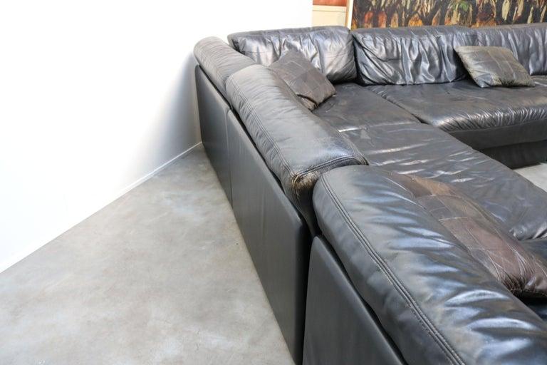 Rare Vintage Swiss De Sede Model DS-76 Black Leather Modular Sofa Daybed DS76 For Sale 1