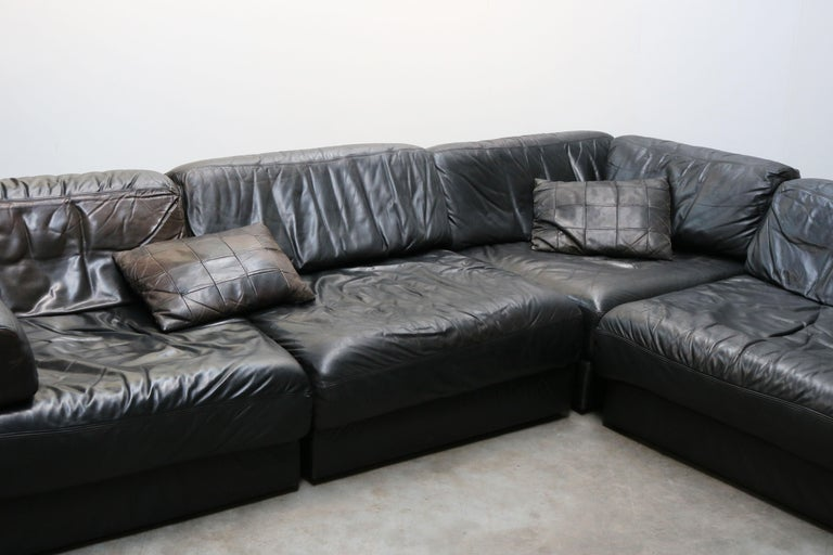 Rare Vintage Swiss De Sede Model DS-76 Black Leather Modular Sofa Daybed DS76 For Sale 2