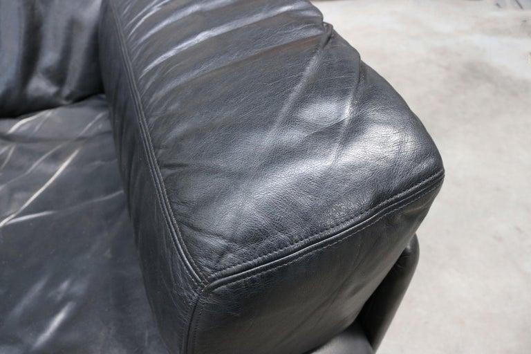 Rare Vintage Swiss De Sede Model DS-76 Black Leather Modular Sofa Daybed DS76 For Sale 4