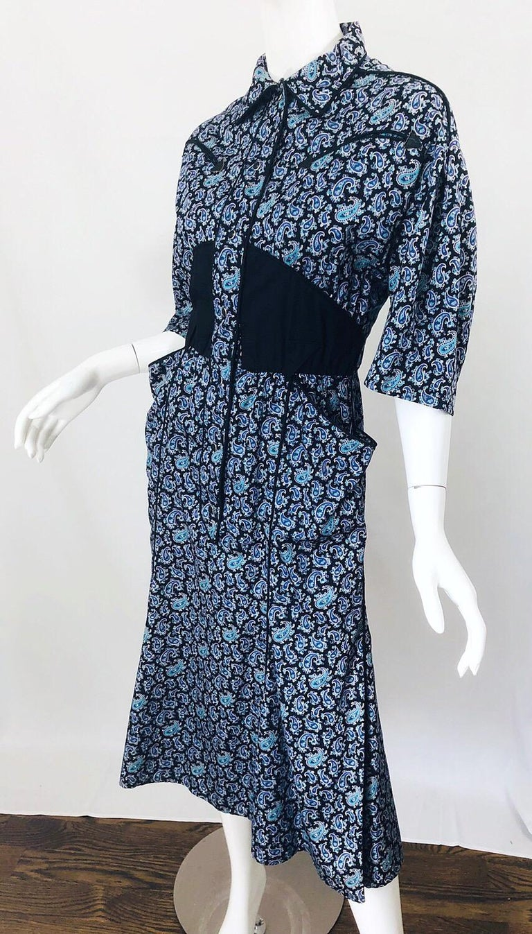 Rare Vintage Thierry Mugler 1980s Blue Paisley Western 80s Cotton Shirt Dress For Sale 6