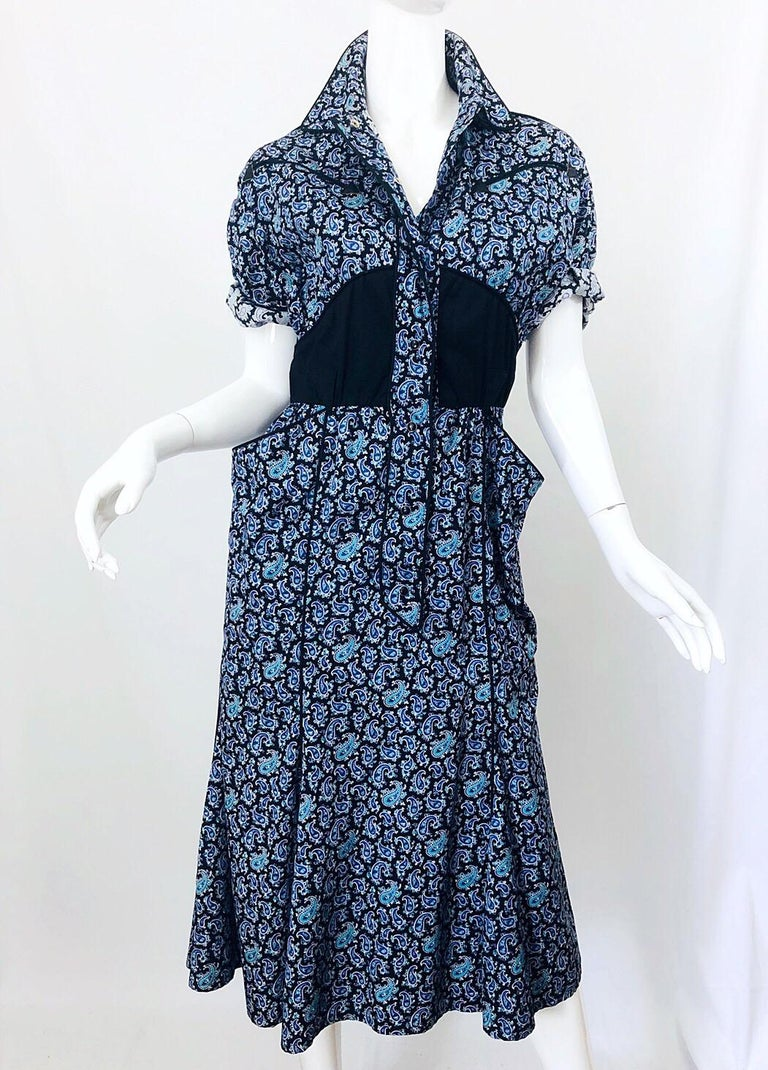 Rare Vintage Thierry Mugler 1980s Blue Paisley Western 80s Cotton Shirt Dress For Sale 7