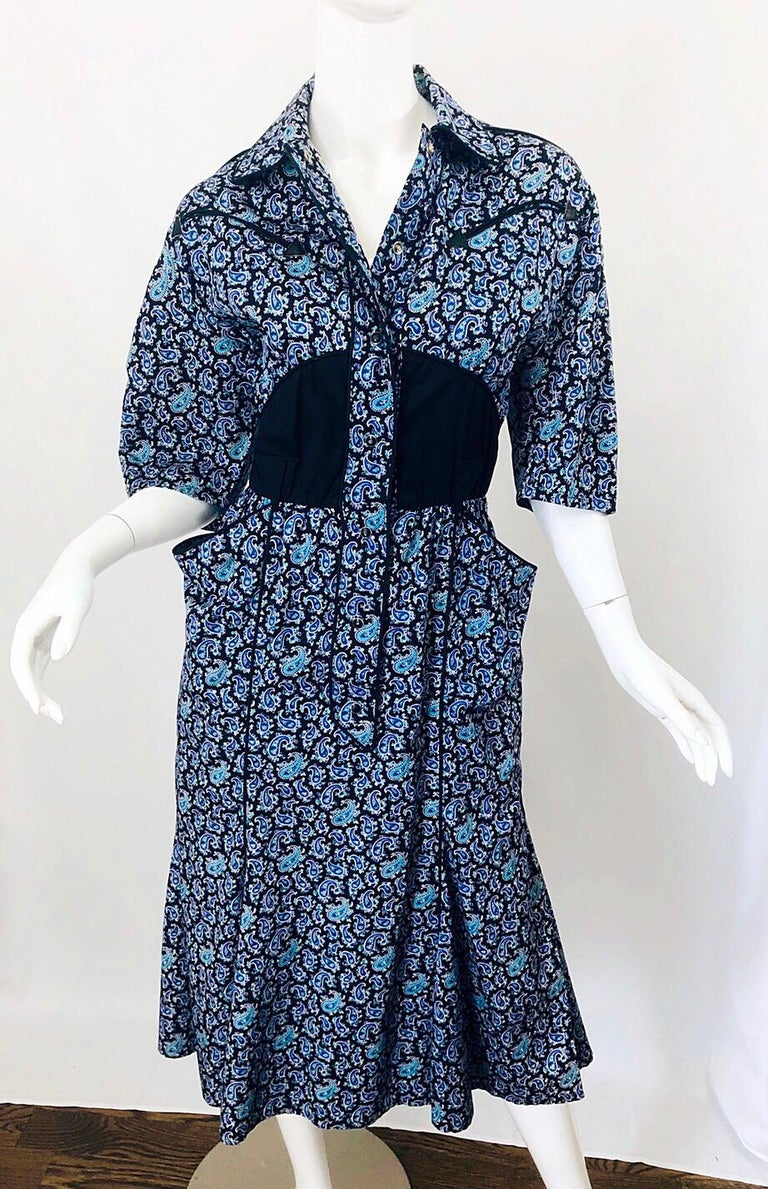 Rare Vintage Thierry Mugler 1980s Blue Paisley Western 80s Cotton Shirt Dress For Sale 8