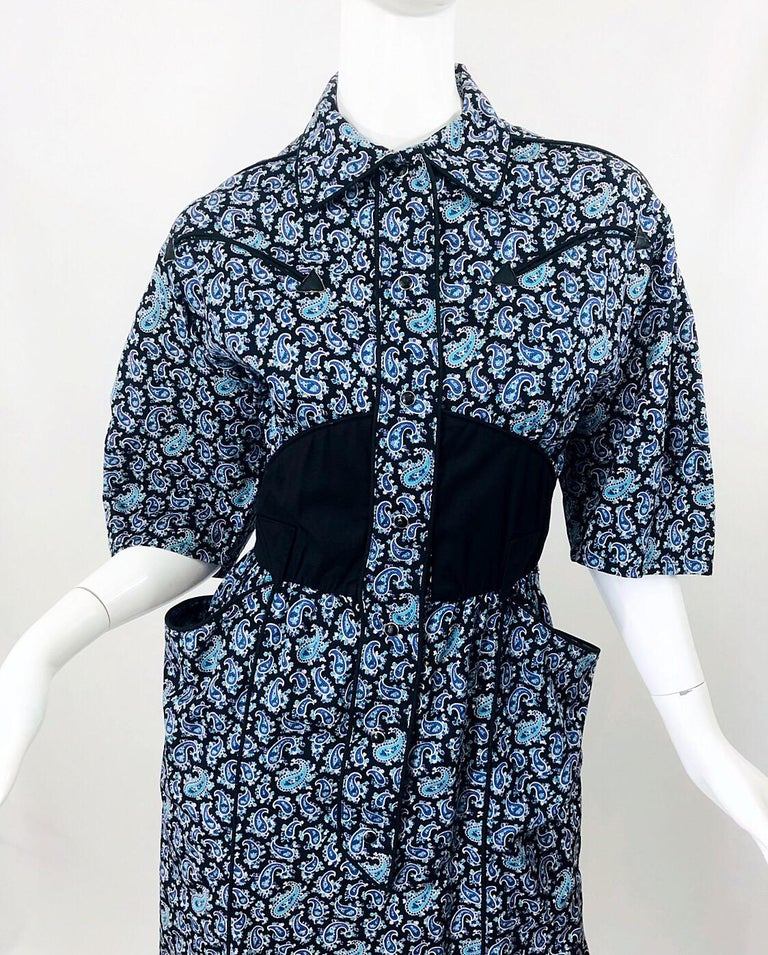 Women's Rare Vintage Thierry Mugler 1980s Blue Paisley Western 80s Cotton Shirt Dress For Sale