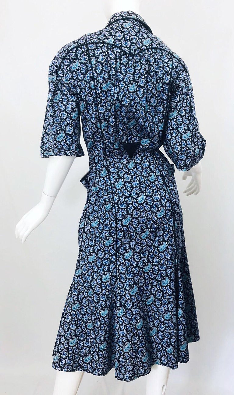 Rare Vintage Thierry Mugler 1980s Blue Paisley Western 80s Cotton Shirt Dress For Sale 1