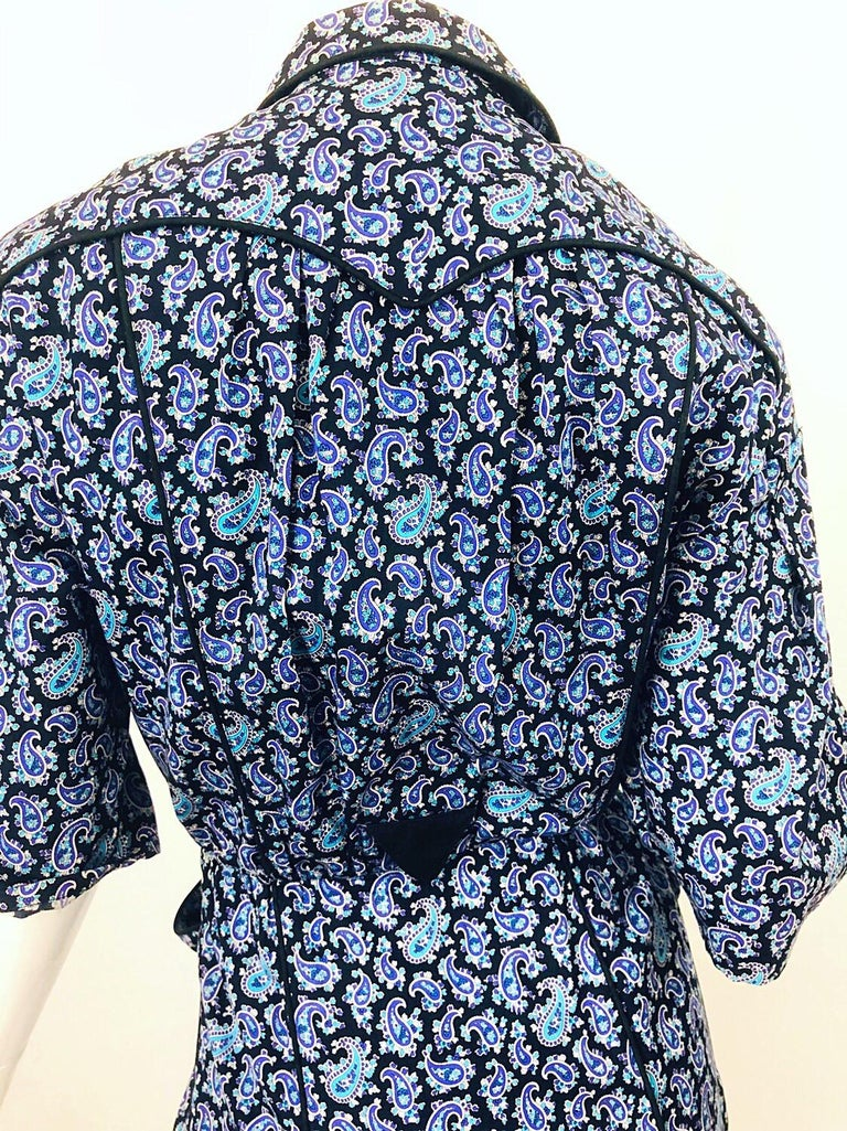 Rare Vintage Thierry Mugler 1980s Blue Paisley Western 80s Cotton Shirt Dress For Sale 2