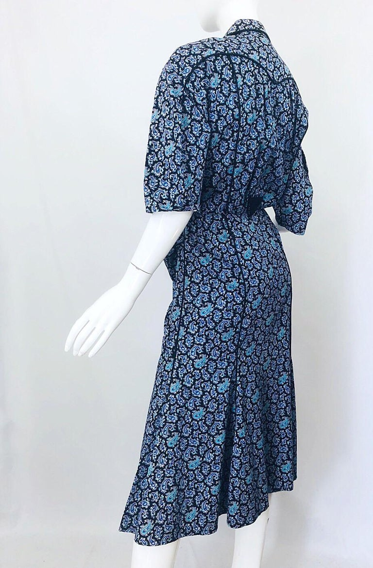 Rare Vintage Thierry Mugler 1980s Blue Paisley Western 80s Cotton Shirt Dress For Sale 3