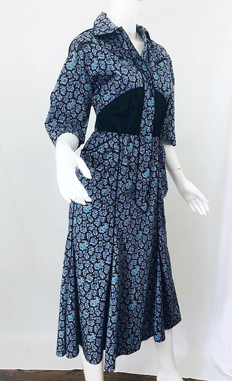 Rare Vintage Thierry Mugler 1980s Blue Paisley Western 80s Cotton Shirt Dress For Sale 4