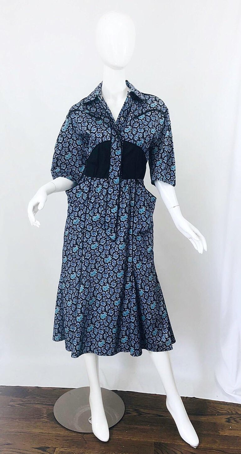 Rare Vintage Thierry Mugler 1980s Blue Paisley Western 80s Cotton Shirt Dress For Sale 5