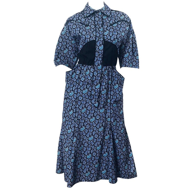 Rare Vintage Thierry Mugler 1980s Blue Paisley Western 80s Cotton Shirt Dress For Sale