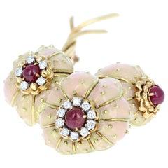 Rare Vintage Tiffany & Co. 18 Karat Gold, Diamond, Ruby and Enamel Brooch 43.7g