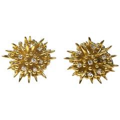 "Rare Vintage Tiffany & Co. ""Sea Anemone"" Yellow Gold Earrings"