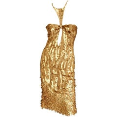Rare Vintage TOM FORD for GUCCI Gold Sequined Tulle Dress